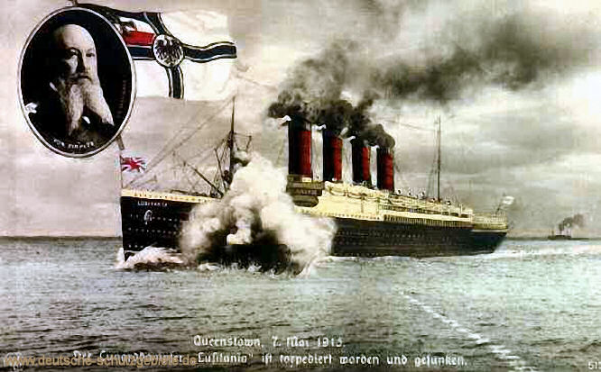Queenstown, 7. Mai 1915 Der Cunarddampfer 'Lusitania' ist torpediert worden und gesunken