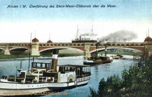 Minden i. W., Überführung des Rhein-Weser-Elbkanals über die Weser