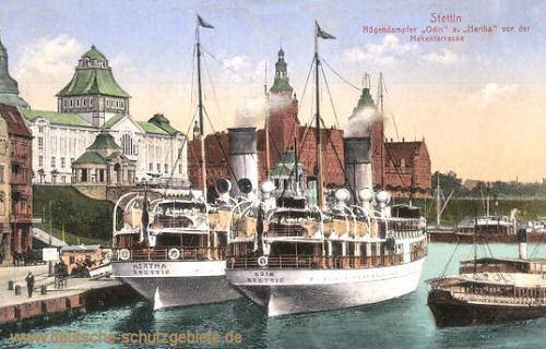 Stettin, Rügendampfer Odin und Hertha vor der Hakenterrasse