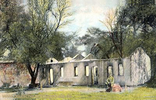 Deutsch-Südwestafrika, Zerstörtes Farmgebäude 1904