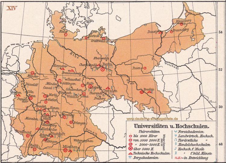 Universitäten und Hochschulen, Landkarte 1910