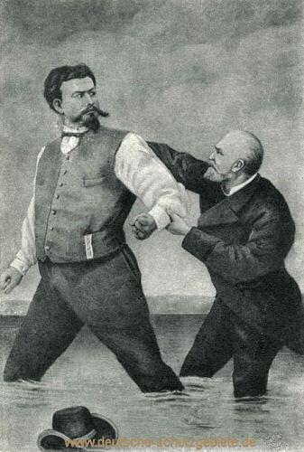 König Ludwig II. und Professor Bernhard von Gudden im Starnberger See