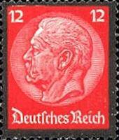 Hindenburg Ausgabe zum Tode mit Trauerrand 1934, 12 Pfennig
