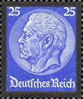 Hindenburg Ausgabe zum Tode mit Trauerrand 1934, 25 Pfennig