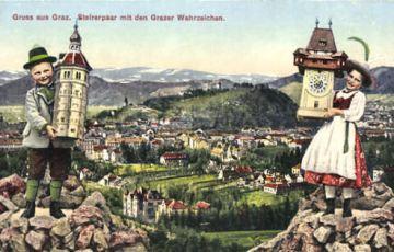 Graz, Steirerpaar mit den Grazer Wahrzeichen