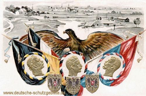 Dreikaiserreichsecke. Flaggen der 3 Reiche, Bildnisse Kaiser Franz Joseph I., Kaiser Wilhelm II. und Zar Nikolaus II.