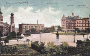 Myslowitz, Synagoge, Volksschule, Wilhelmsplatz, Gymnasium, Magistrat und Polizeiverwaltung