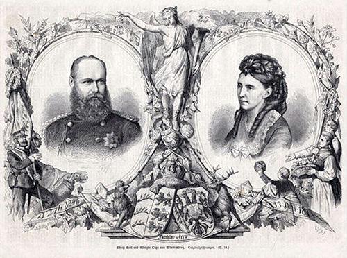 König Karl I. und Königin Olga von Württemberg zur Silberhochzeit 1871