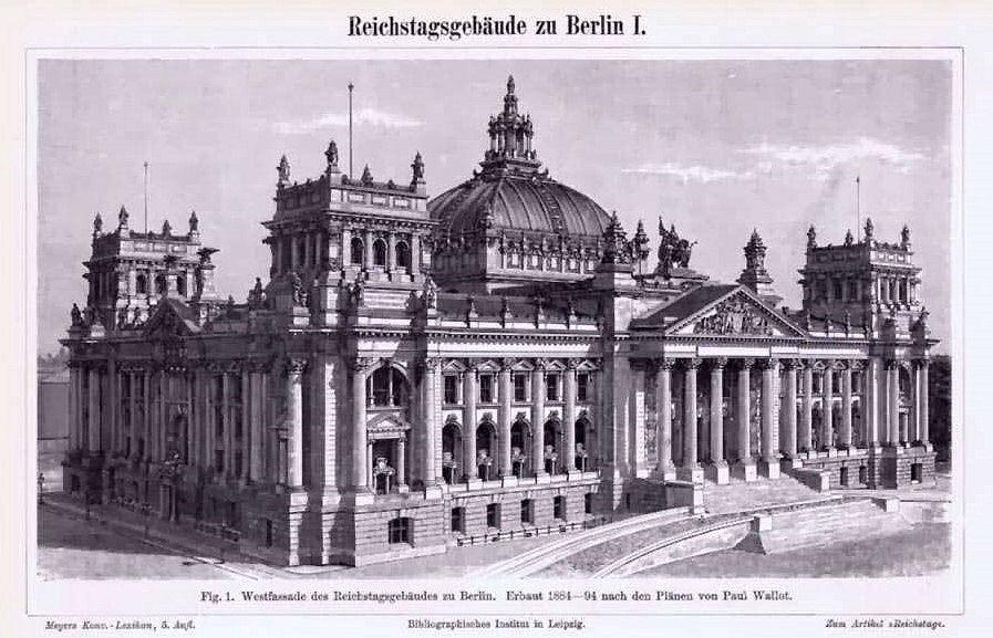 Westfassade des Reichstagsgebäudes zu Berlin