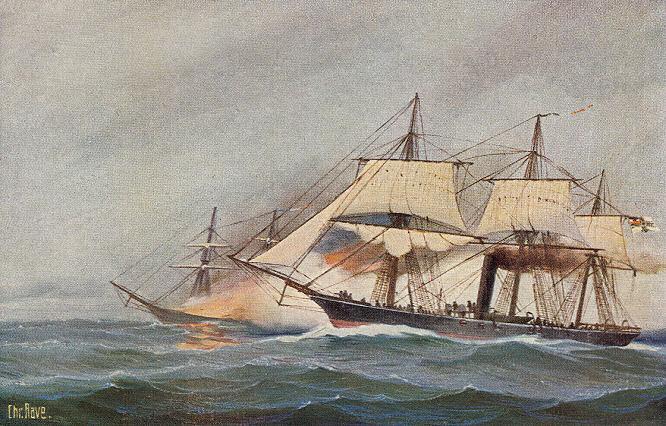 Deutsche Korvette Augusta, einen französischen Dampfer vernichtend, am 4. Januar 1871