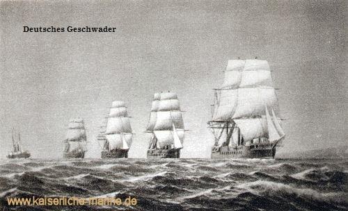 Deutsches Geschwader 1875, v.l.n.r.: S.M.S. Falke, S.M.S. Hansa, S.M.S. Kaiser, S.M.S. Kronprinz, S.M.S. König Wilhelm