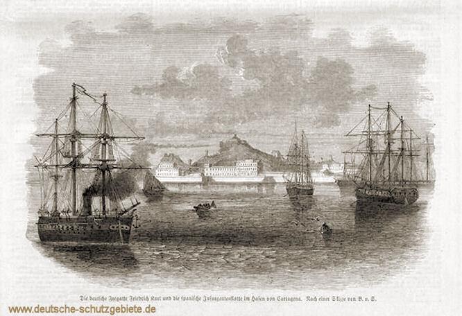 Die deutsche Fregatte Friedrich Carl und die spanische Insurgentenflotte im Hafen von Cartagena