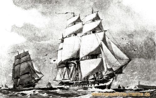 Gefion und Amazone im Geschwader segelnd