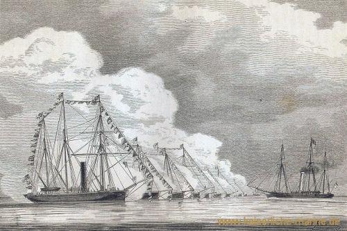 Die Kanonenbootflottille in Parade vor S.M. dem Kaiser (auf S.M.S. Grille)