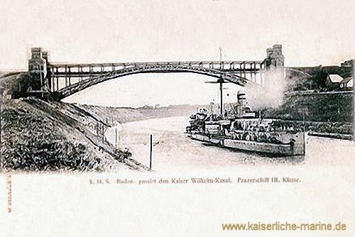 S.M.S. Baden passiert den Kaiser-Wilhelm-Kanal, Panzerschiff III. Klasse, 1899