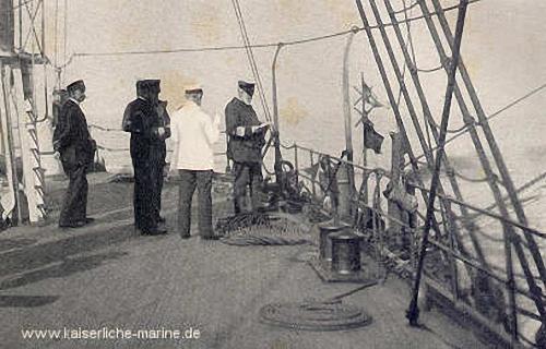 Der kommandierende Admiral von Knorr im Manöver auf Flaggschiff S.M.S. Blücher, 1896