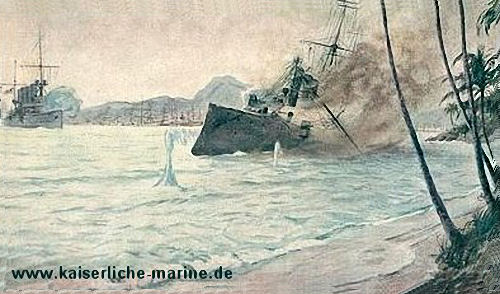 S.M.S. Emden versenkt den russischen Kreuzer Schemtschug