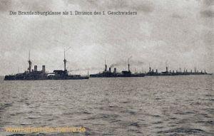 Die Brandenburgklasse als 1. Division des 1. Geschwaders, 1894