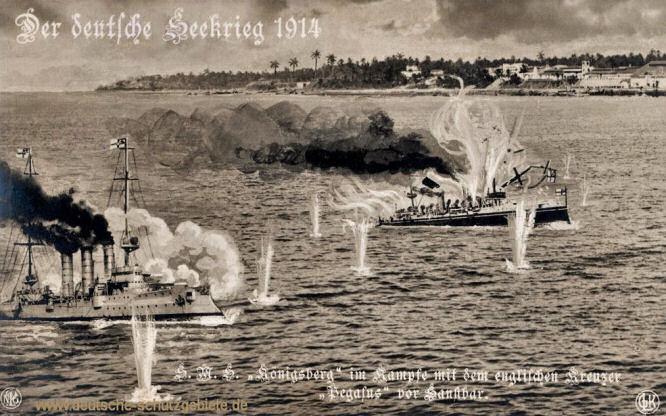 S.M.S. Königsberg im Kampfe mit dem englischen Kreuzer Pagasus vor Sansibar