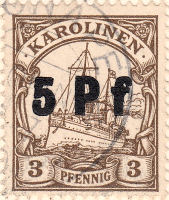 Karolinen, 5 Pf Stempel auf 3 Pfennig-Marke