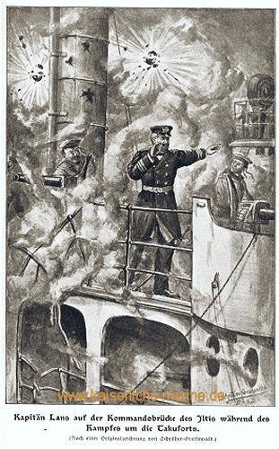 Kapitän Lans auf der Kommandobrücke der Iltis während des Kampfes um die Takuforts