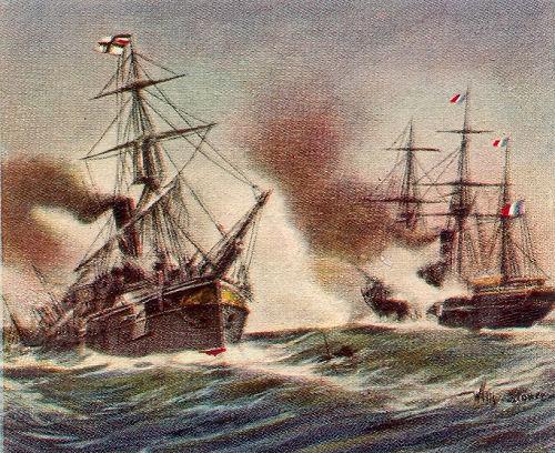 """Kampf zwischen dem deutschen Kanonenboot """"Meteor"""" und dem französischen Aviso """"Bouvet"""" vor Havanna, 9. November 1870"""