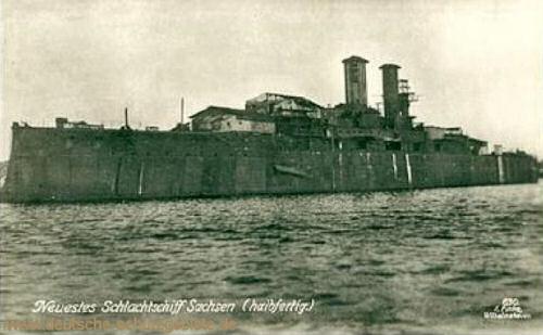 Neuestes Schlachtschiff Sachsen (halbfertig)