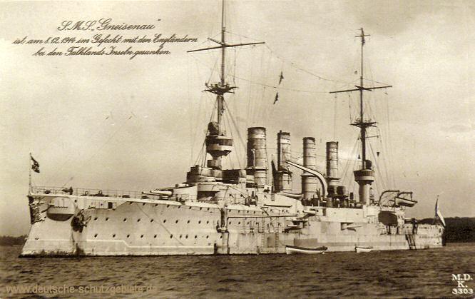 S.M.S. Gneisenau ist am 8.12.1914 im Gefecht mit den Engländern bei den Falklands-Inseln gesunken.
