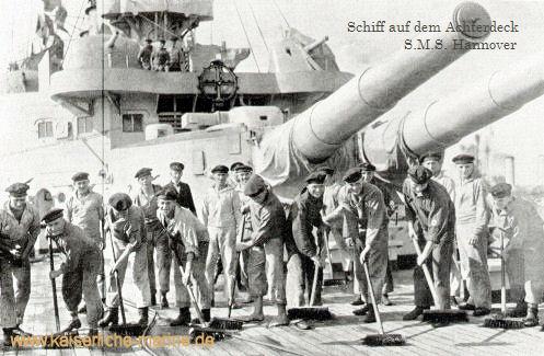 S.M.S. Hannover - Schiff auf dem Achterdeck