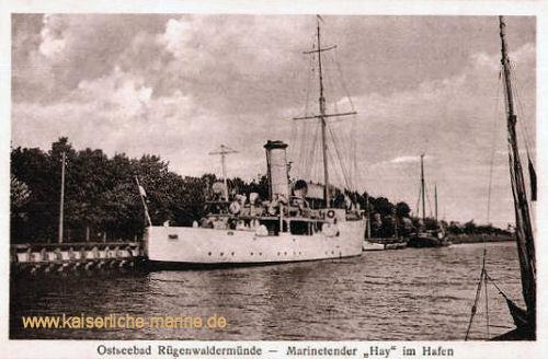 S.M.S. Hay im Hafen des Ostseebades Rügenwaldermünde (Pommern)