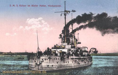 S.M.S. Kaiser im Kieler Hafen, Heckansicht