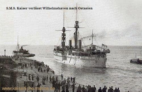 S.M.S. Kaiser verlässt Wilhelmshaven nach Ostasien, 1895