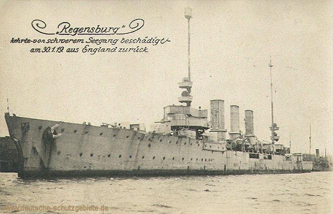 Regensburg kehrt von schwerem Seegang beschädigt am 30.1.19 aus England zurück.