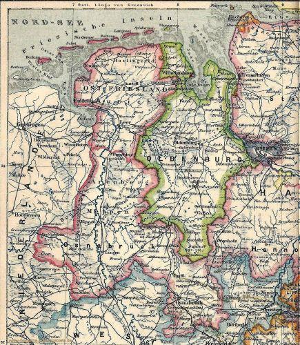 Herzogtum Oldenburg, Landkarte um 1900