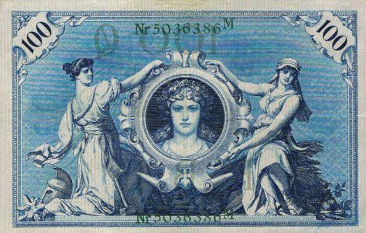 Reichsbanknote 100 Mark 07.02.1908 Rückseite