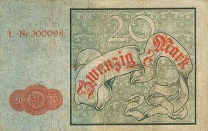 Reichskassenschein 20 Mark 10.01.1882 Rückseite