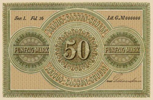 Reichskassenschein 50 Mark 11.07.1874 Rückseite