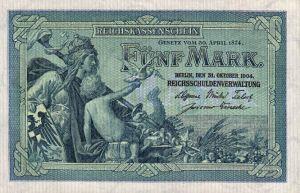 Reichskassenschein 5 Mark 31.09.1904 Vorderseite