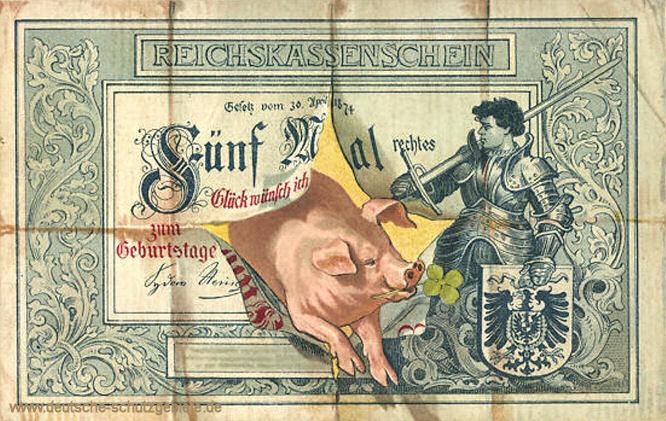 Reichskassenschein 5 Mark, Postkarte