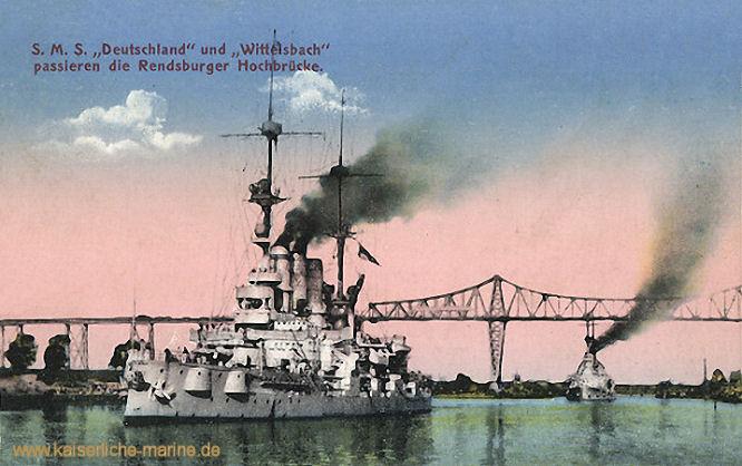 S.M.S. Deutschland und Wittelsbach passieren die Rendsburger Hockbrücke
