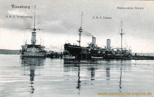 S.M.S. Württemberg und S.M.S. Uranus, Flensburg