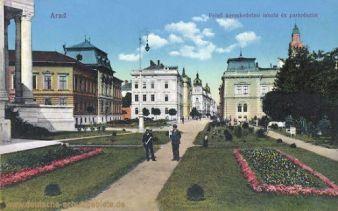 Arad, Felso kereskedelmi iskola es parkrészlet