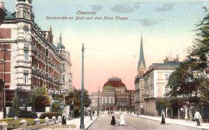 Chemnitz, Carolastraße mit Blick nach dem Neuen Theater