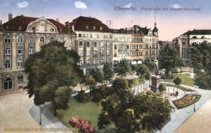 Chemnitz, Poststraße mit Becker-Denkmal