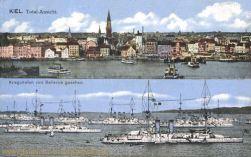 Kiel, Total-Ansicht, Kriegshafen von Bellevue gesehen