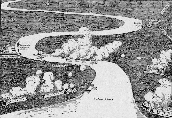 Das Bombardement der Takuforts durch die im Peihofluss liegenden Kanonenboote der Mächte.