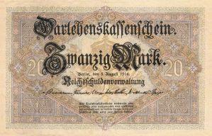 Darlehenskassenschein 20 Mark 05.08.1914 Vorderseite