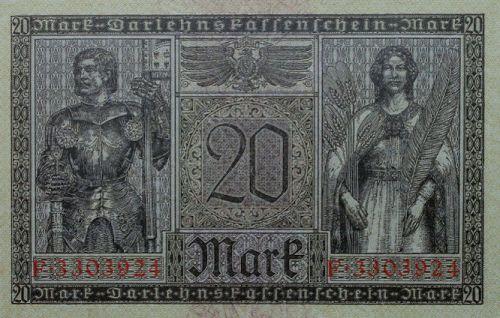 Darlehenskassenschein 20 Mark 20.02.1918 Rückseite