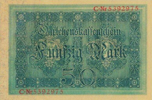 Darlehenskassenschein 50 Mark 05.08.1914 Rückseite