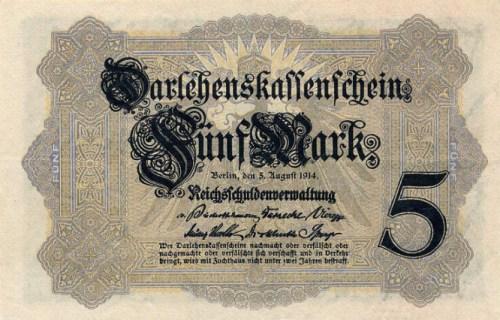 Darlehenskassenschein 5 Mark 05.08.1914 Vorderseite